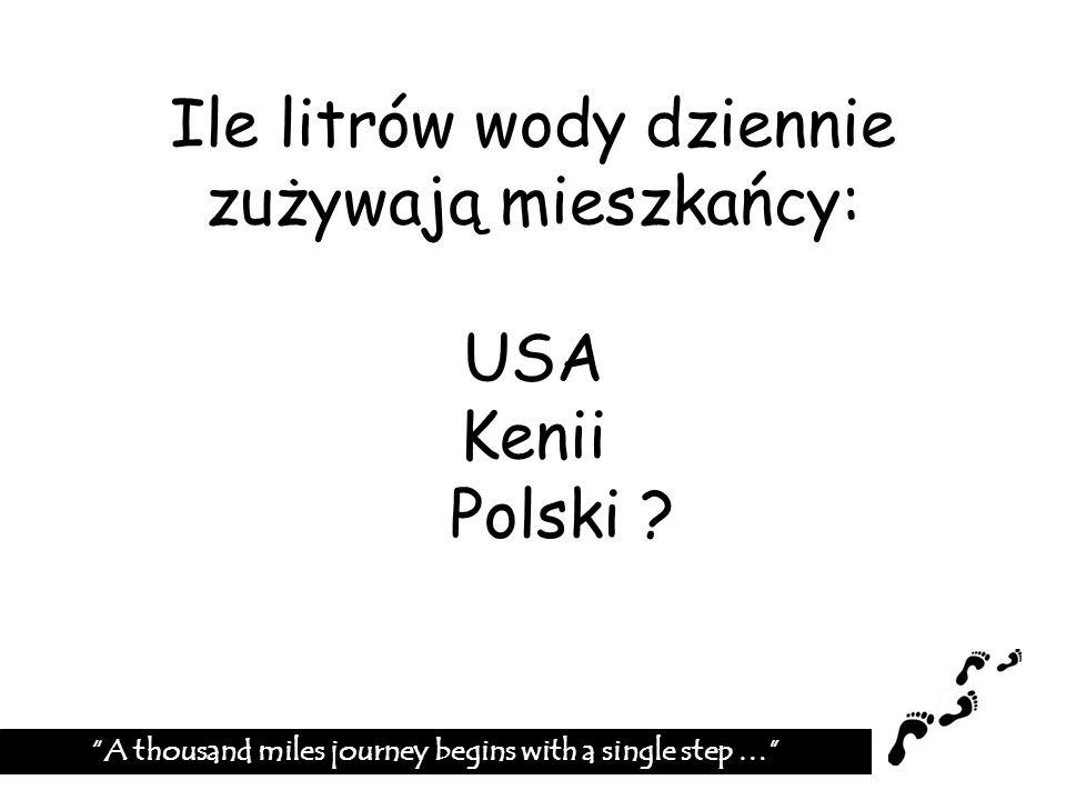 Ile litrów wody dziennie zużywają mieszkańcy: USA Kenii Polski