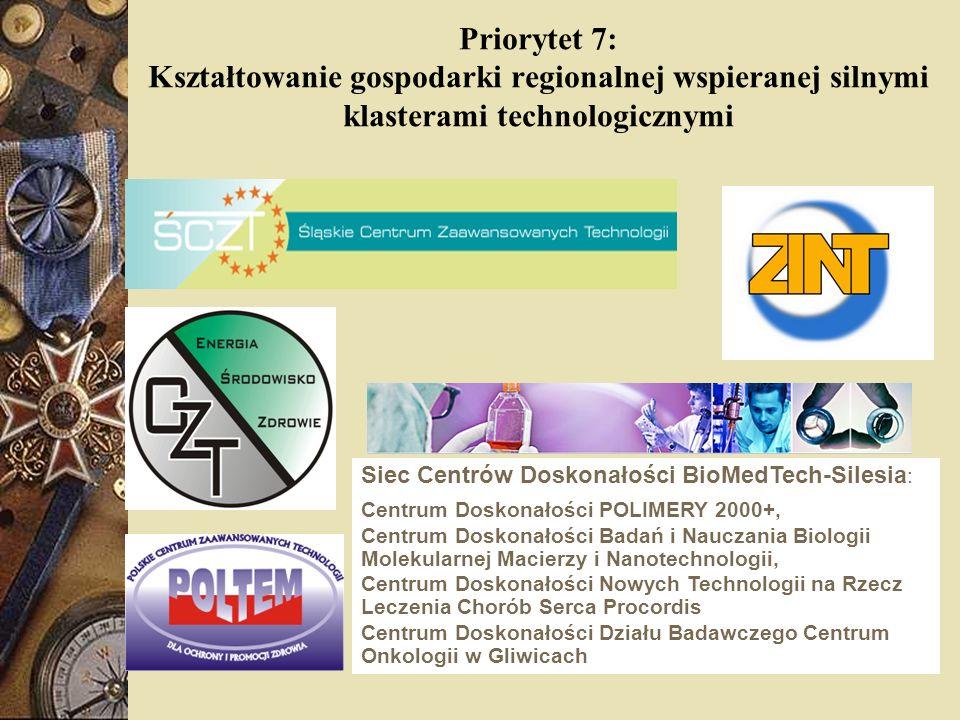Priorytet 7: Kształtowanie gospodarki regionalnej wspieranej silnymi klasterami technologicznymi