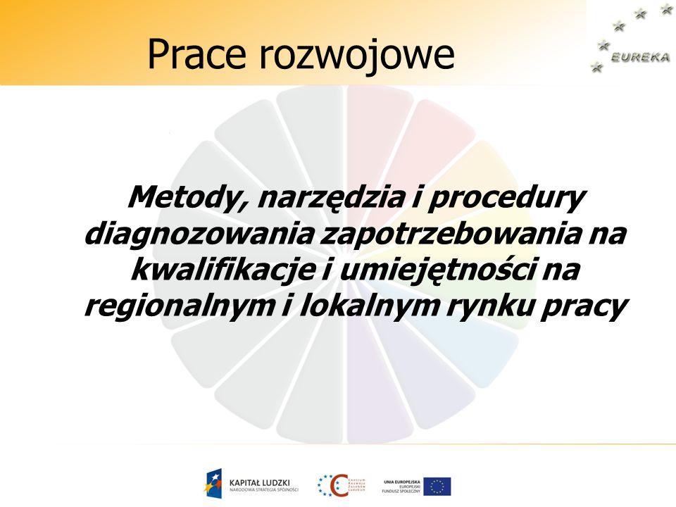 Prace rozwojowe Metody, narzędzia i procedury diagnozowania zapotrzebowania na kwalifikacje i umiejętności na regionalnym i lokalnym rynku pracy.