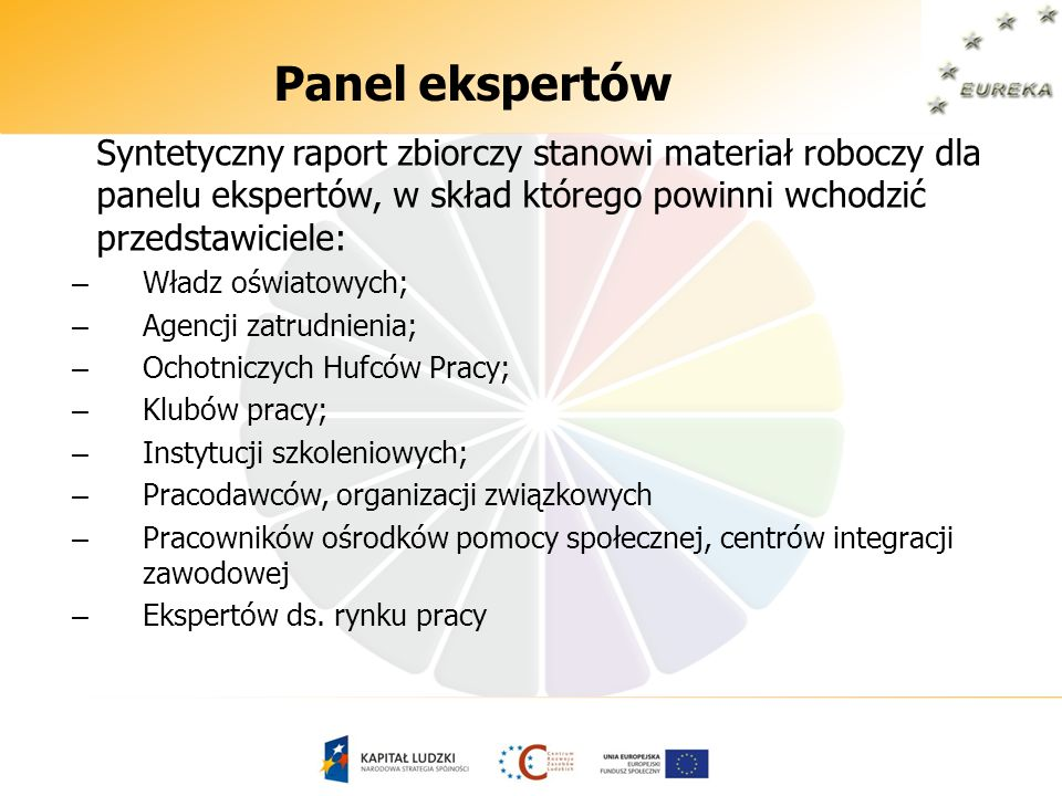 Panel ekspertówSyntetyczny raport zbiorczy stanowi materiał roboczy dla panelu ekspertów, w skład którego powinni wchodzić przedstawiciele: