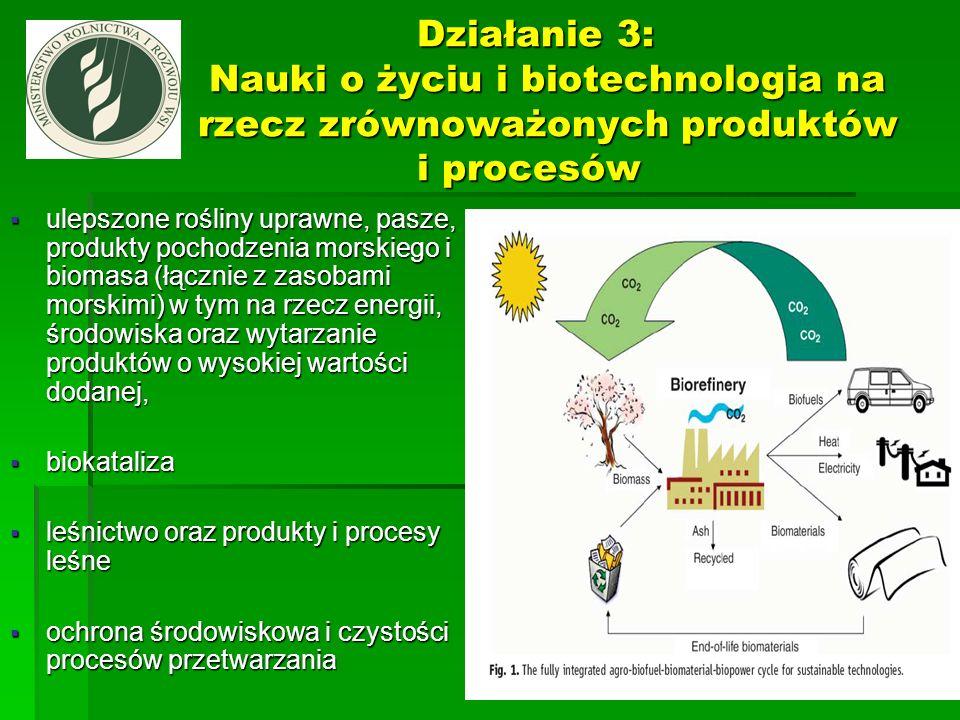 Działanie 3: Nauki o życiu i biotechnologia na rzecz zrównoważonych produktów i procesów