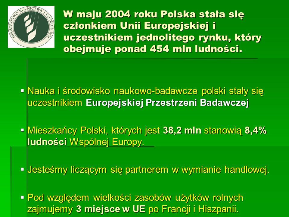 W maju 2004 roku Polska stała się członkiem Unii Europejskiej i uczestnikiem jednolitego rynku, który obejmuje ponad 454 mln ludności.