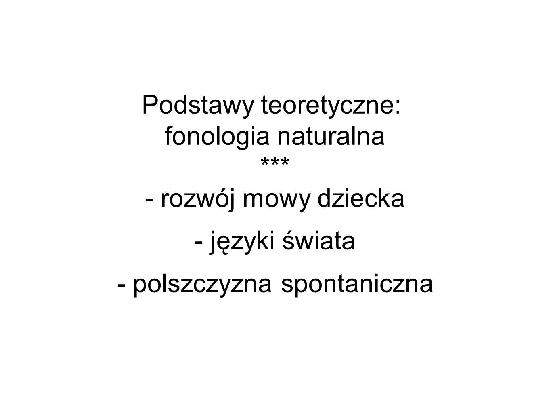 Podstawy teoretyczne: fonologia naturalna *** - rozwój mowy dziecka