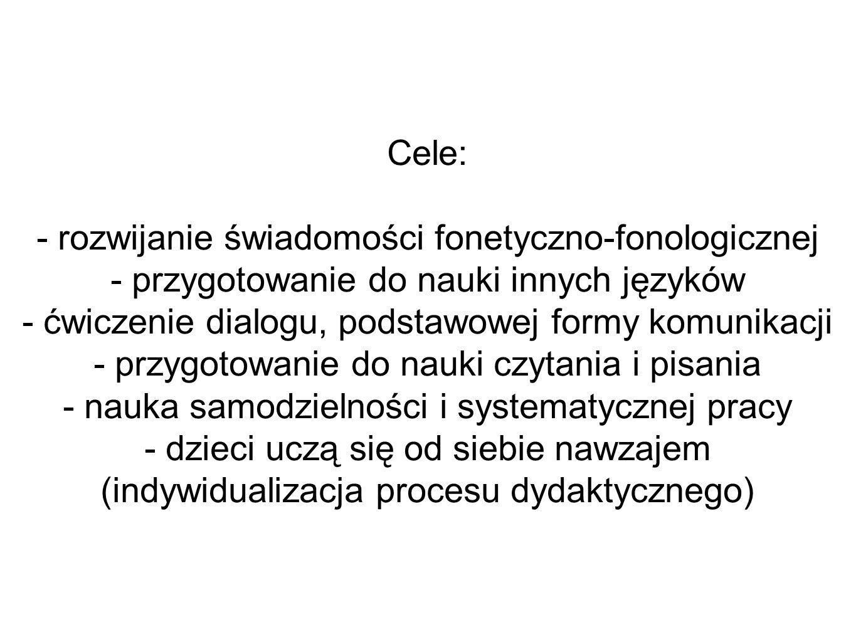 - rozwijanie świadomości fonetyczno-fonologicznej