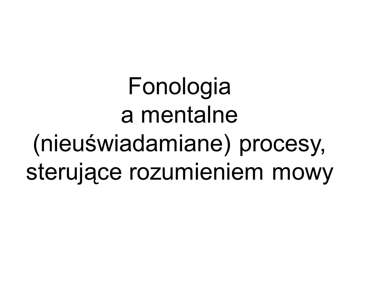 a mentalne (nieuświadamiane) procesy, sterujące rozumieniem mowy