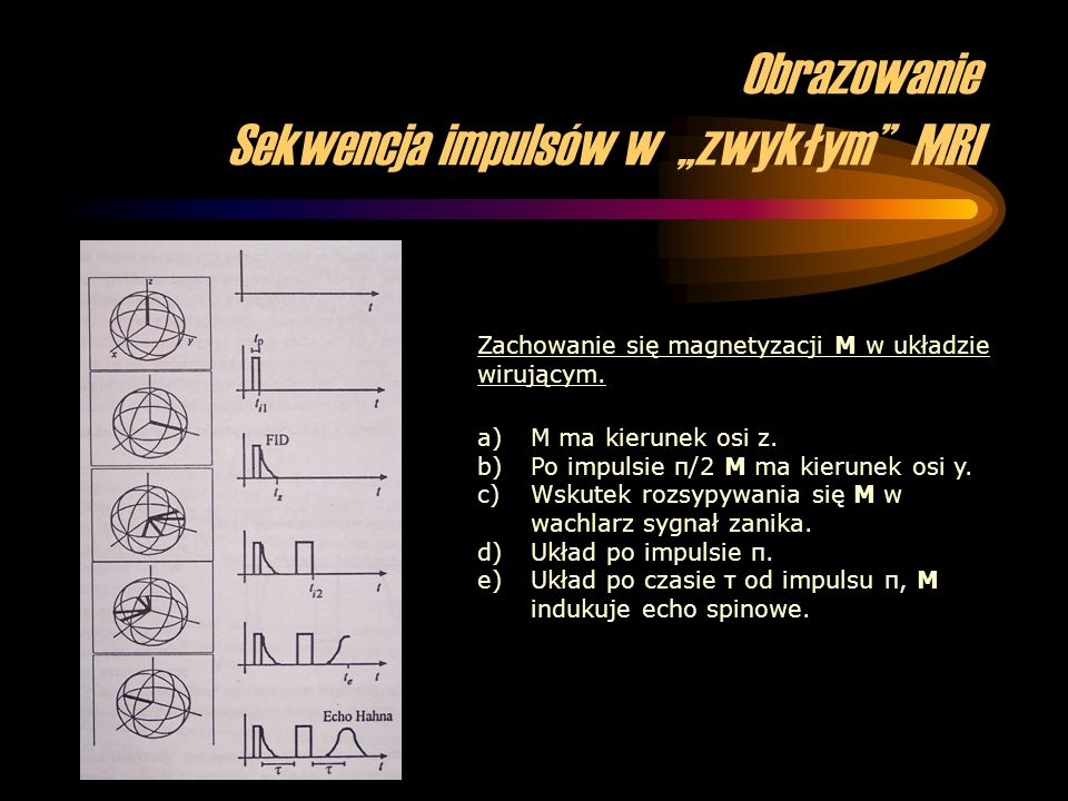 """Obrazowanie Sekwencja impulsów w """"zwykłym MRI"""