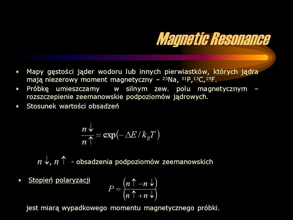 Magnetic Resonance Mapy gęstości jąder wodoru lub innych pierwiastków, których jądra mają niezerowy moment magnetyczny – 23Na, 31P,13C,19F.