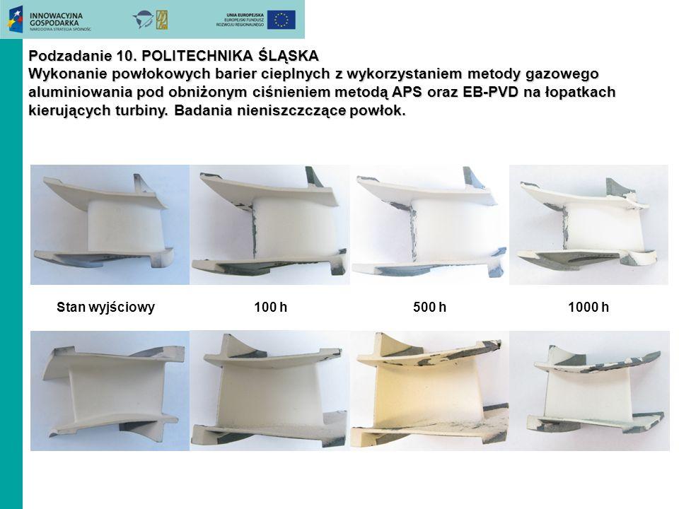 Podzadanie 10. POLITECHNIKA ŚLĄSKA Wykonanie powłokowych barier cieplnych z wykorzystaniem metody gazowego aluminiowania pod obniżonym ciśnieniem metodą APS oraz EB-PVD na łopatkach kierujących turbiny. Badania nieniszczczące powłok.