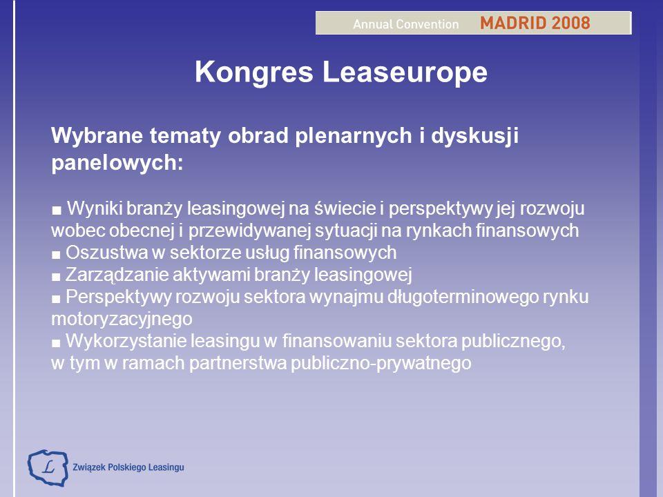 Kongres Leaseurope Wybrane tematy obrad plenarnych i dyskusji panelowych: