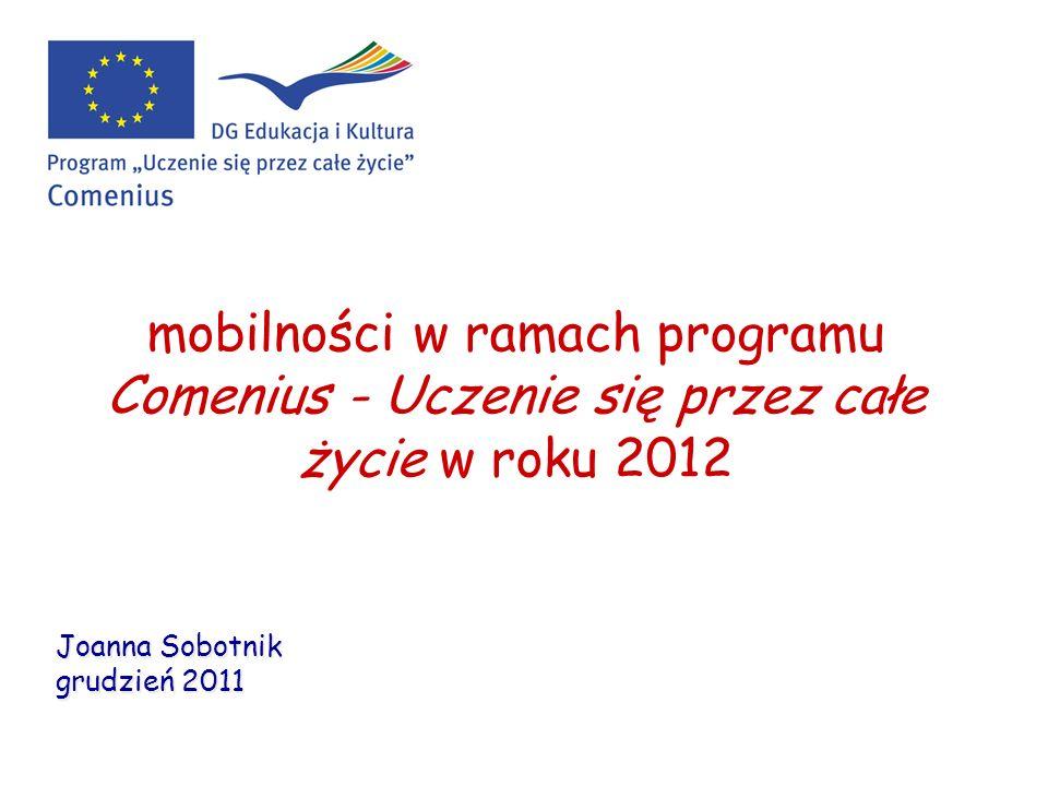 mobilności w ramach programu Comenius - Uczenie się przez całe życie w roku 2012