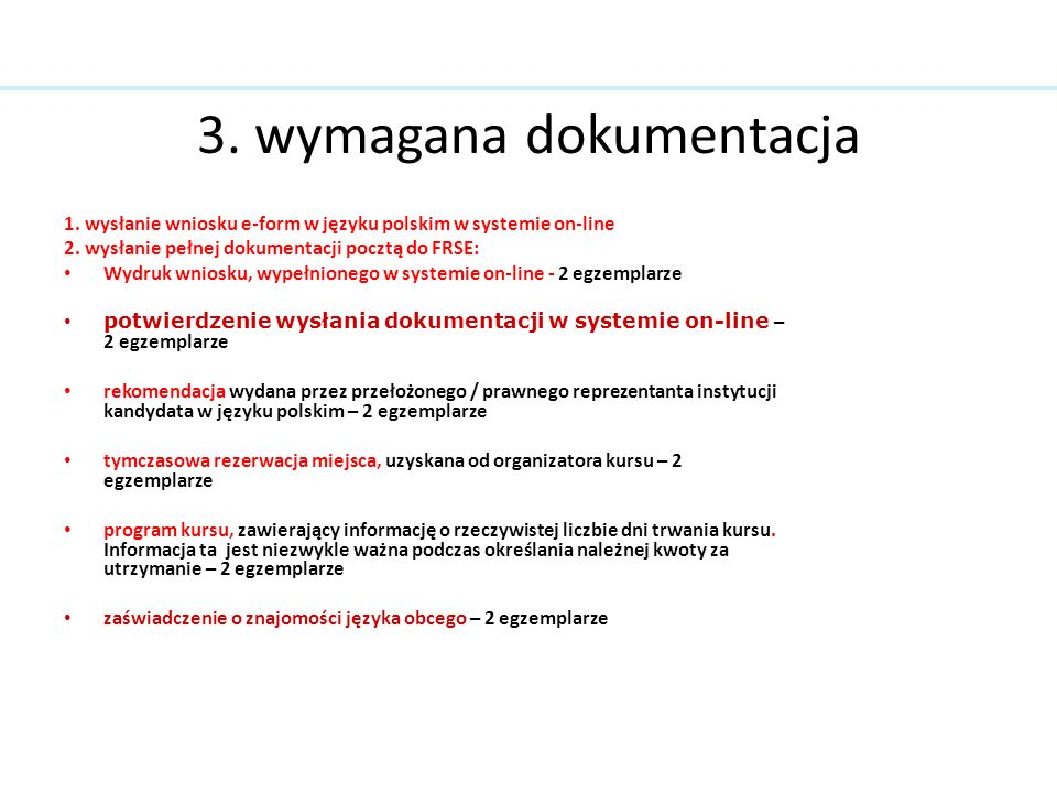 3. wymagana dokumentacja