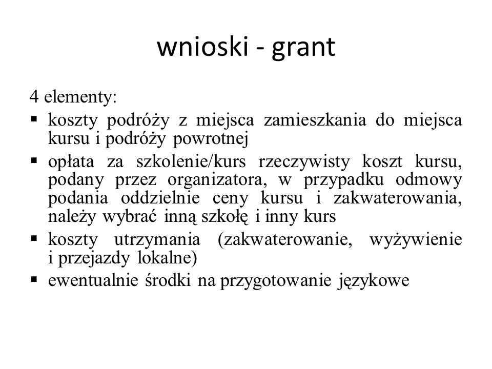 wnioski - grant 4 elementy:
