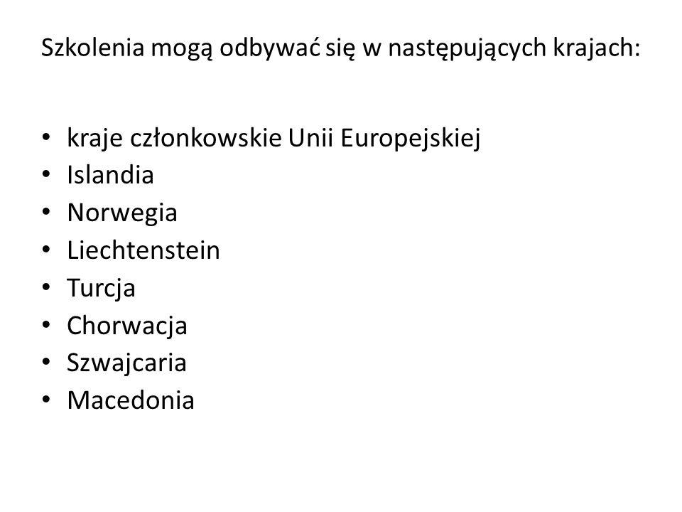 Szkolenia mogą odbywać się w następujących krajach: