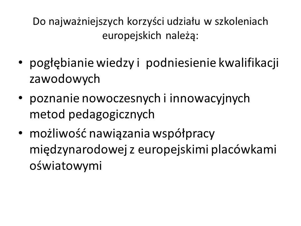 Do najważniejszych korzyści udziału w szkoleniach europejskich należą: