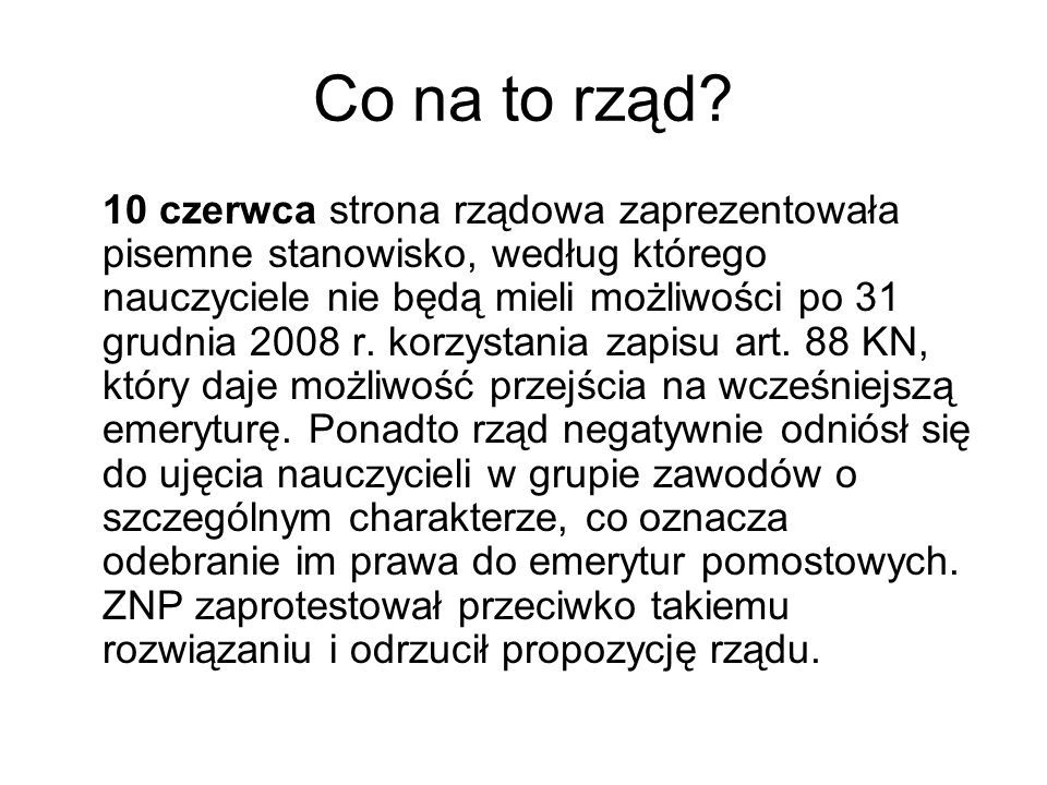 Co na to rząd