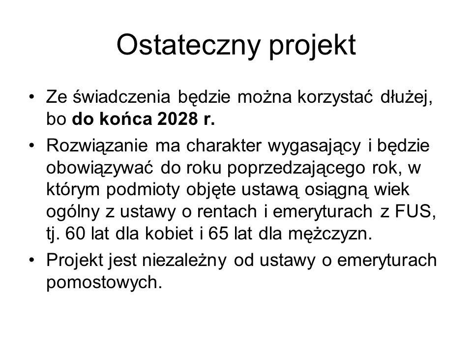 Ostateczny projekt Ze świadczenia będzie można korzystać dłużej, bo do końca 2028 r.