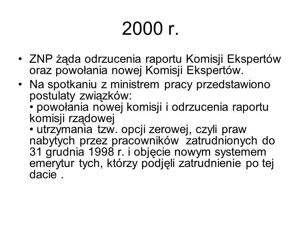 2000 r. ZNP żąda odrzucenia raportu Komisji Ekspertów oraz powołania nowej Komisji Ekspertów.