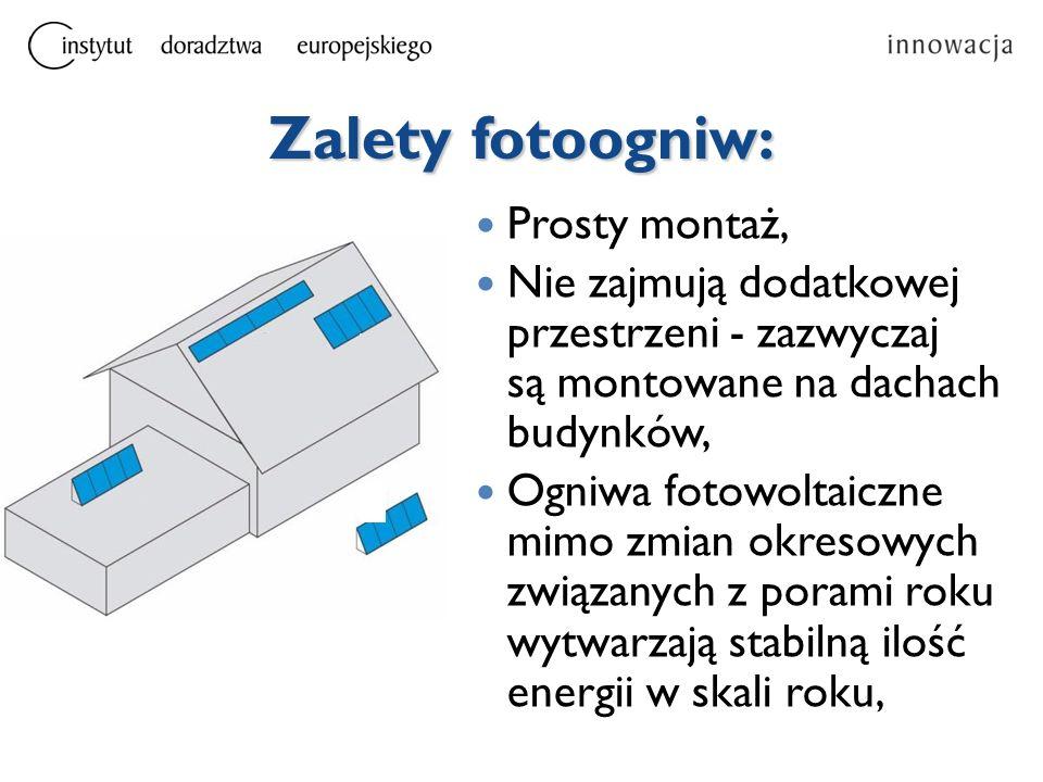 Zalety fotoogniw: Prosty montaż,