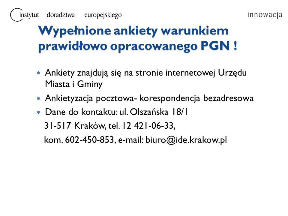 Wypełnione ankiety warunkiem prawidłowo opracowanego PGN !