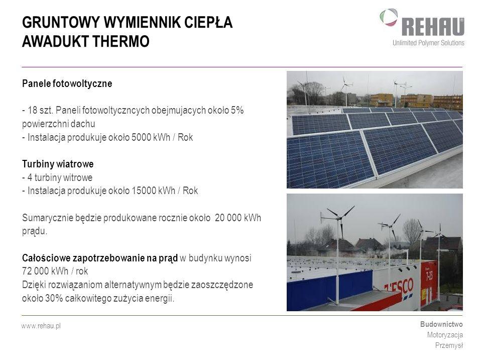 Panele fotowoltyczne 18 szt. Paneli fotowoltyczncych obejmujacych około 5% powierzchni dachu. Instalacja produkuje około 5000 kWh / Rok.