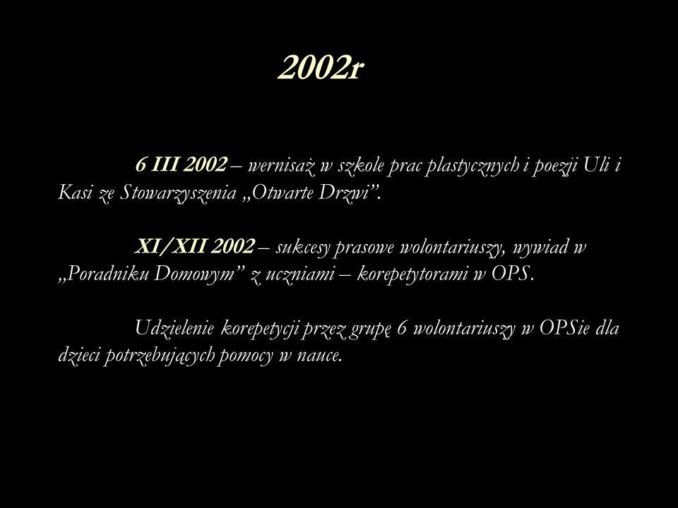 """2002r 6 III 2002 – wernisaż w szkole prac plastycznych i poezji Uli i Kasi ze Stowarzyszenia """"Otwarte Drzwi ."""