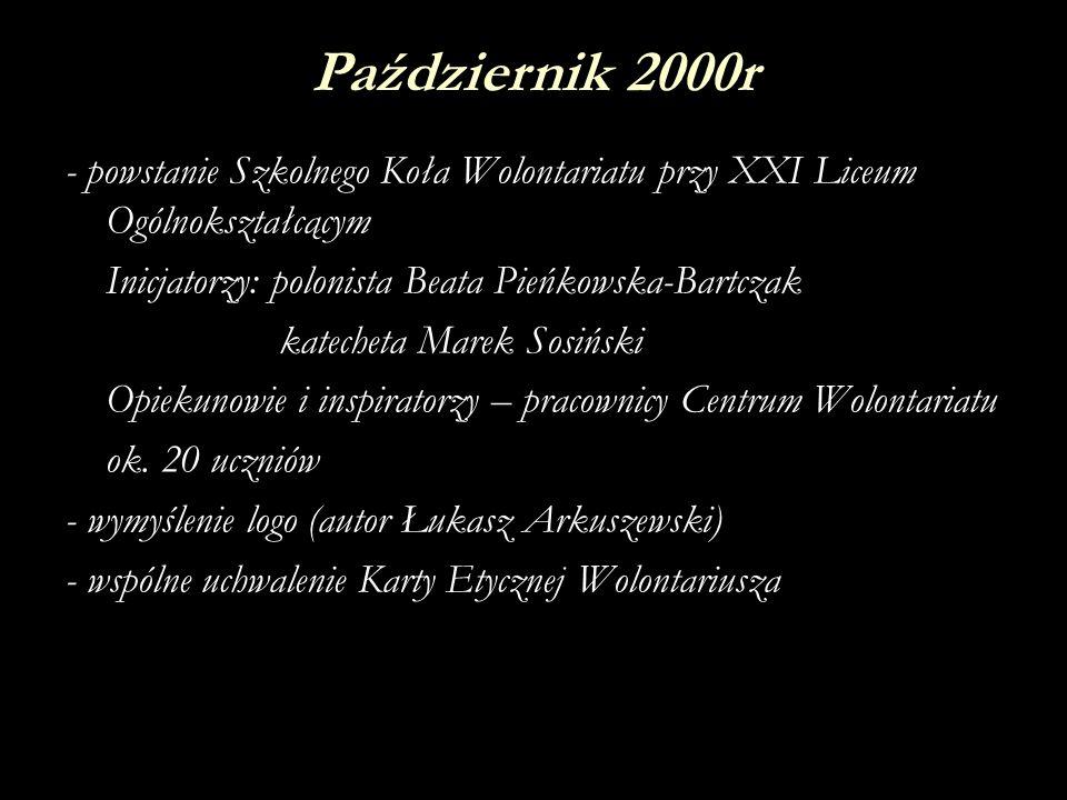 Październik 2000r - powstanie Szkolnego Koła Wolontariatu przy XXI Liceum Ogólnokształcącym. Inicjatorzy: polonista Beata Pieńkowska-Bartczak.