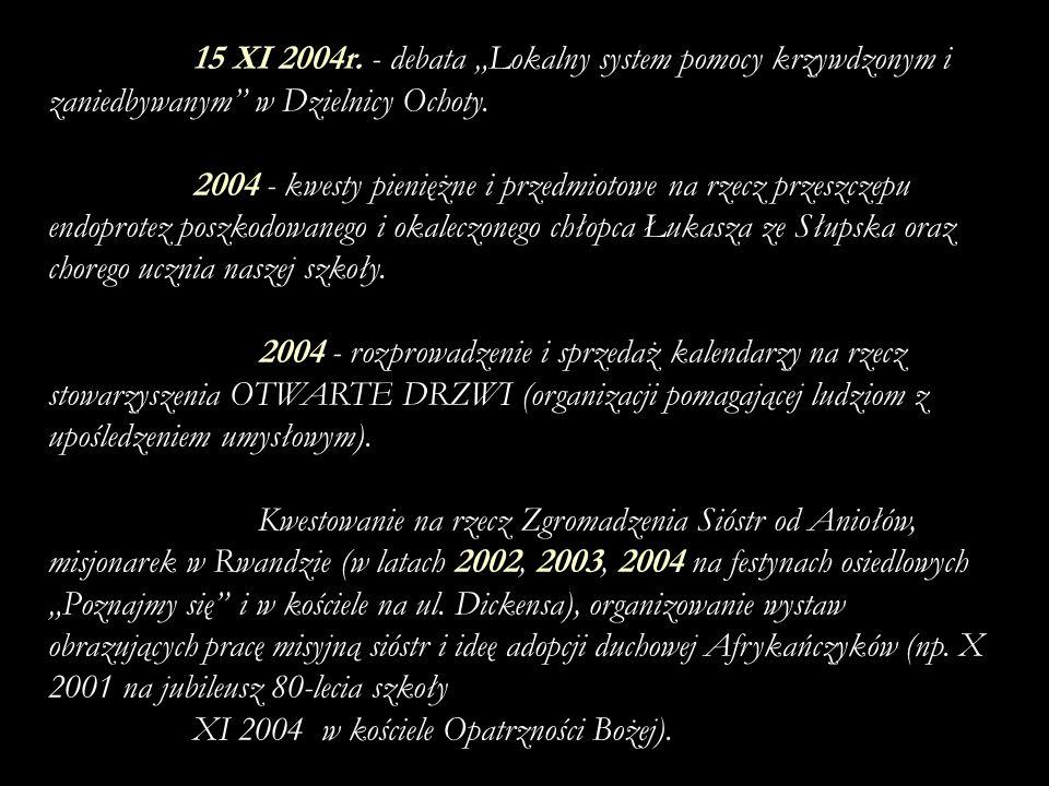 """15 XI 2004r. - debata """"Lokalny system pomocy krzywdzonym i zaniedbywanym w Dzielnicy Ochoty."""