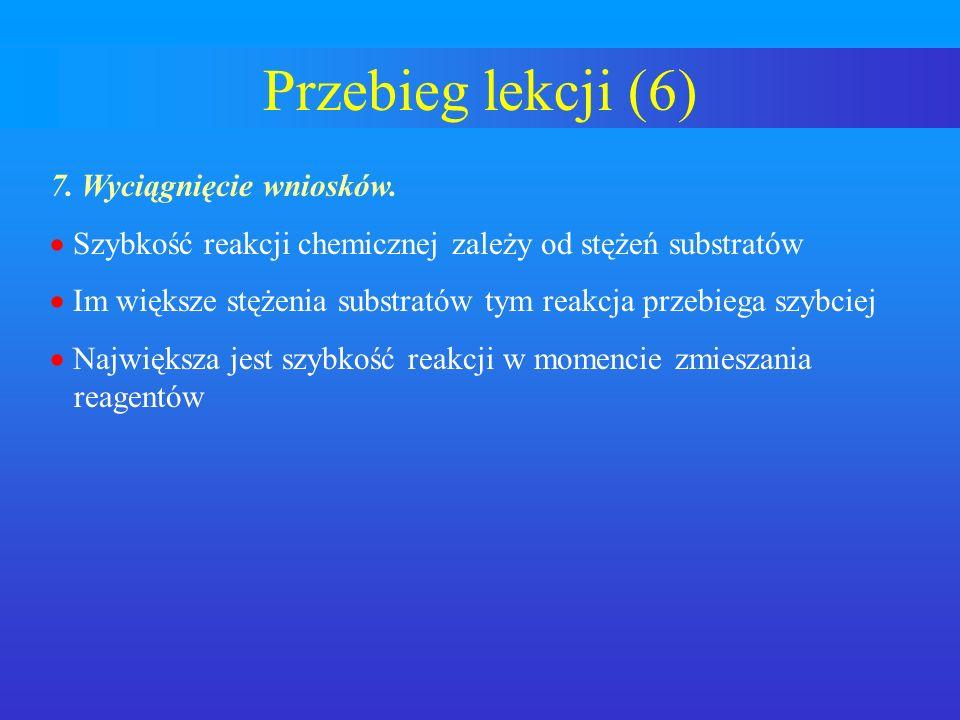 Przebieg lekcji (6) 7. Wyciągnięcie wniosków.