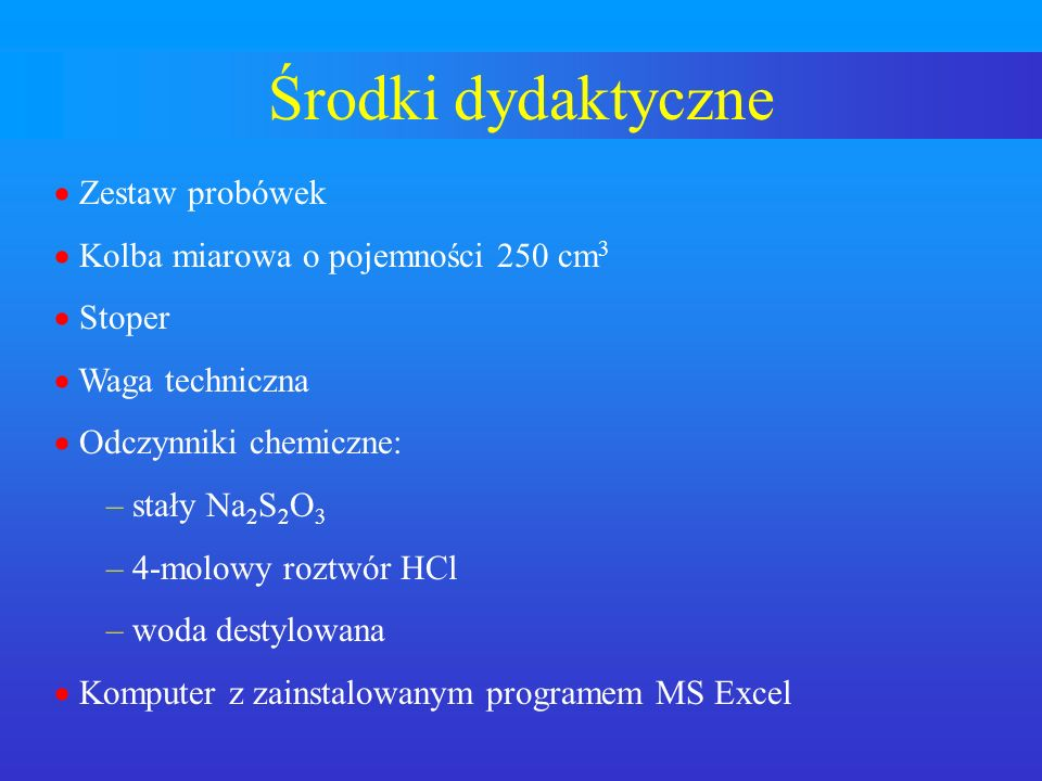 Środki dydaktyczne Zestaw probówek Kolba miarowa o pojemności 250 cm3