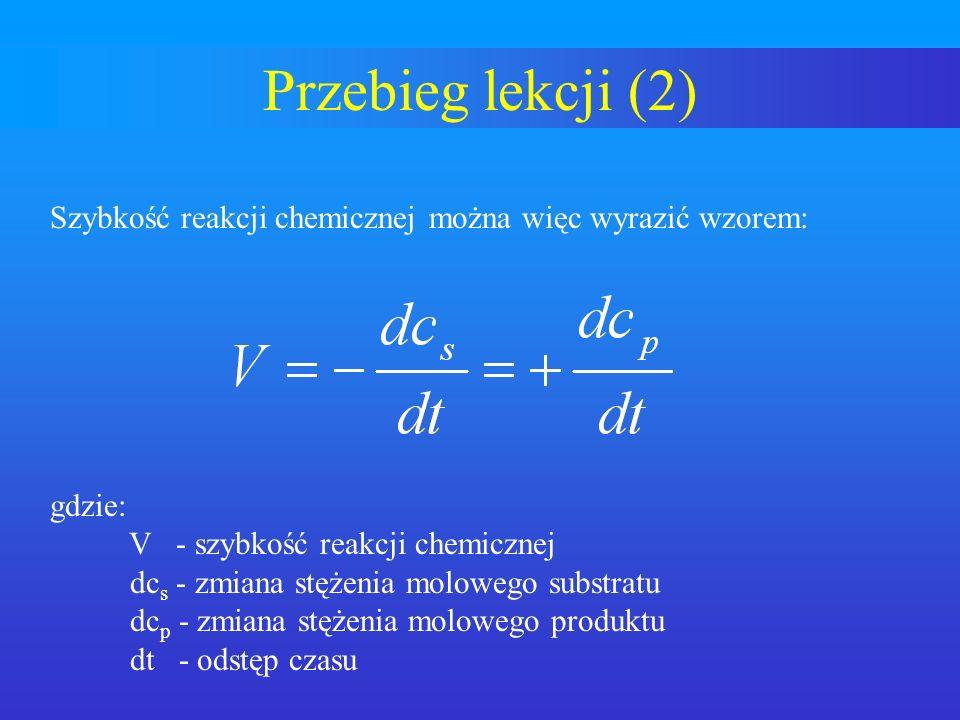 Przebieg lekcji (2) Szybkość reakcji chemicznej można więc wyrazić wzorem: