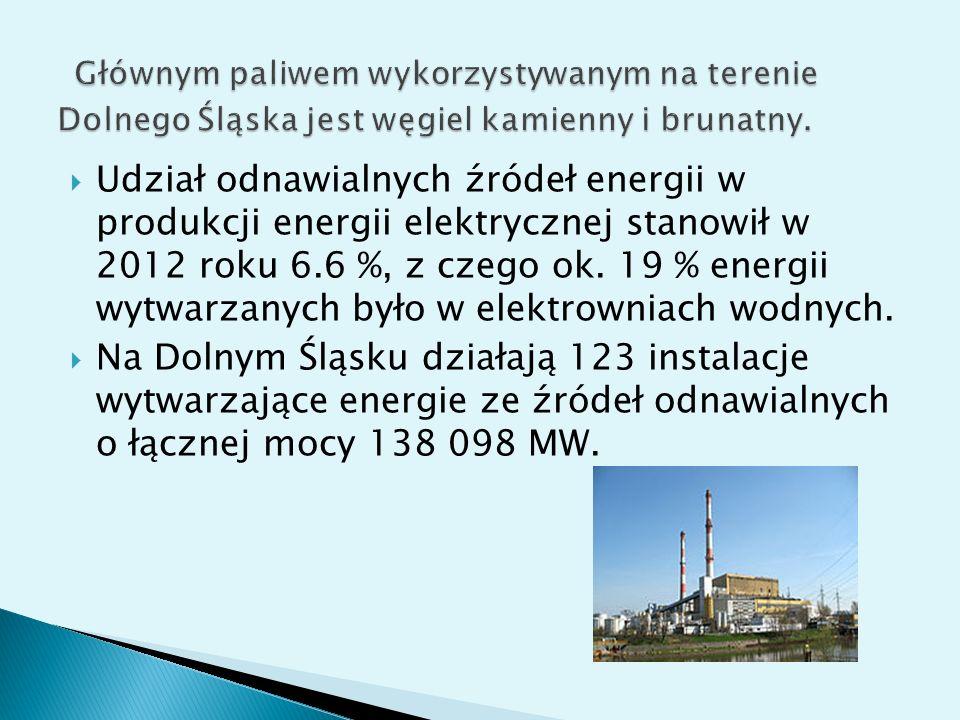 Głównym paliwem wykorzystywanym na terenie Dolnego Śląska jest węgiel kamienny i brunatny.