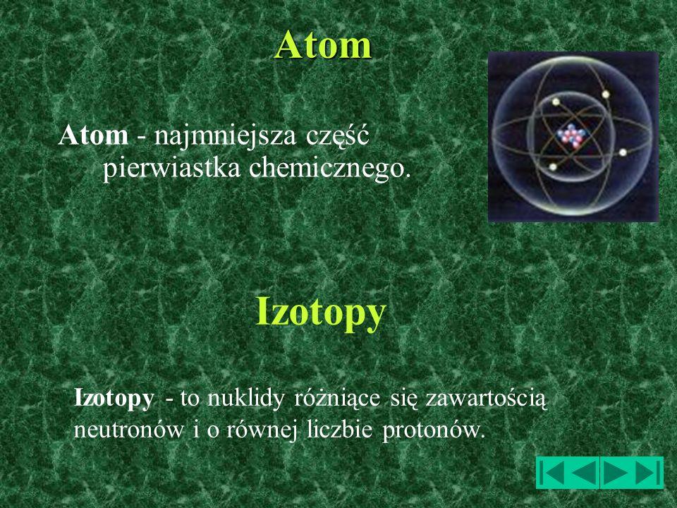 Atom Izotopy Atom - najmniejsza część pierwiastka chemicznego.
