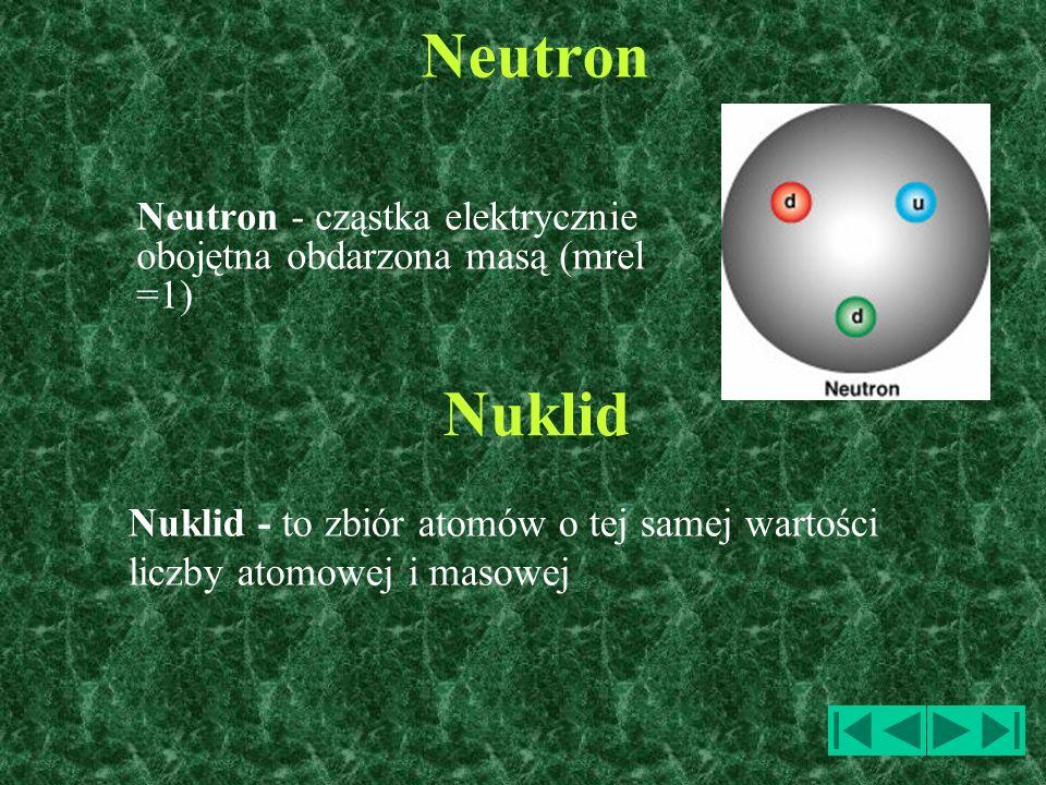 Neutron Neutron - cząstka elektrycznie obojętna obdarzona masą (mrel =1) Nuklid.