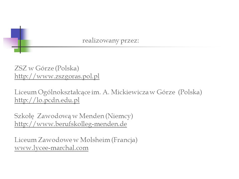 ZSZ w Górze (Polska) http://www. zszgoras. pol