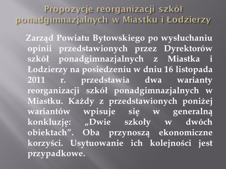Propozycje reorganizacji szkół ponadgimnazjalnych w Miastku i Łodzierzy