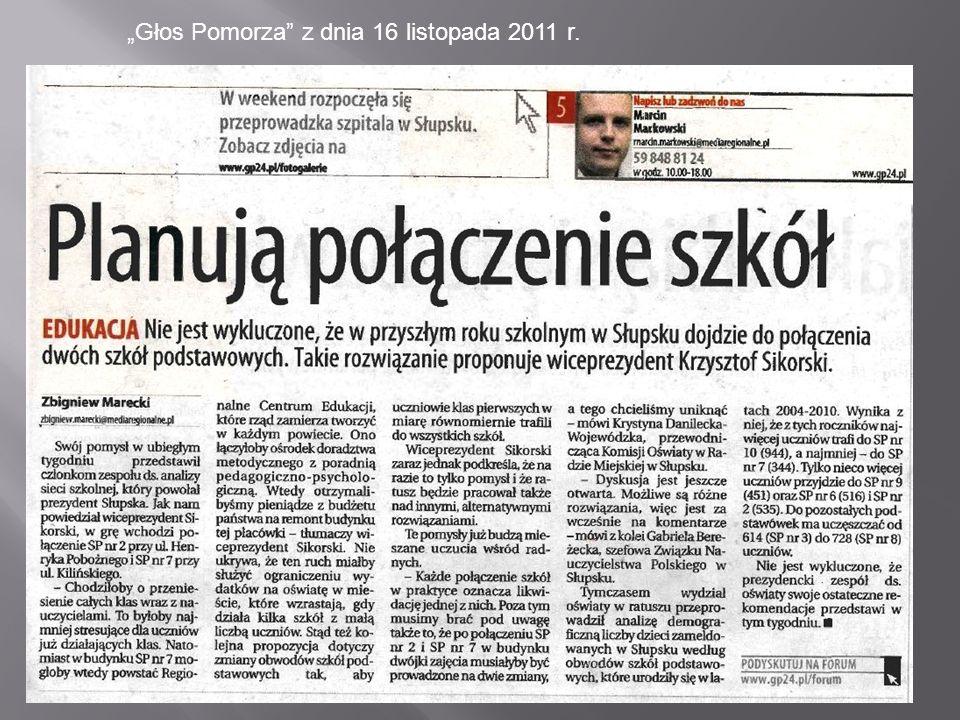 """""""Głos Pomorza z dnia 16 listopada 2011 r."""