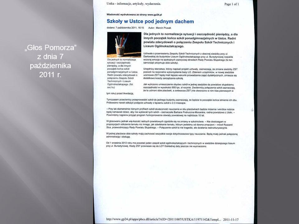 """""""Głos Pomorza z dnia 7 października 2011 r."""