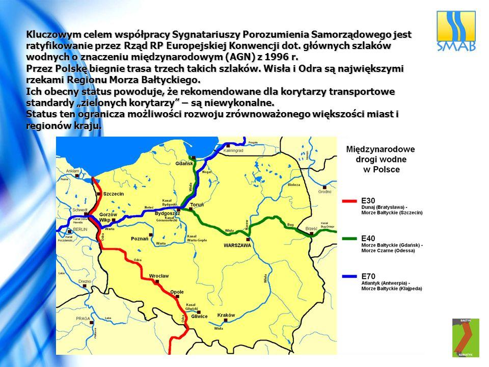 Kluczowym celem współpracy Sygnatariuszy Porozumienia Samorządowego jest ratyfikowanie przez Rząd RP Europejskiej Konwencji dot. głównych szlaków wodnych o znaczeniu międzynarodowym (AGN) z 1996 r.