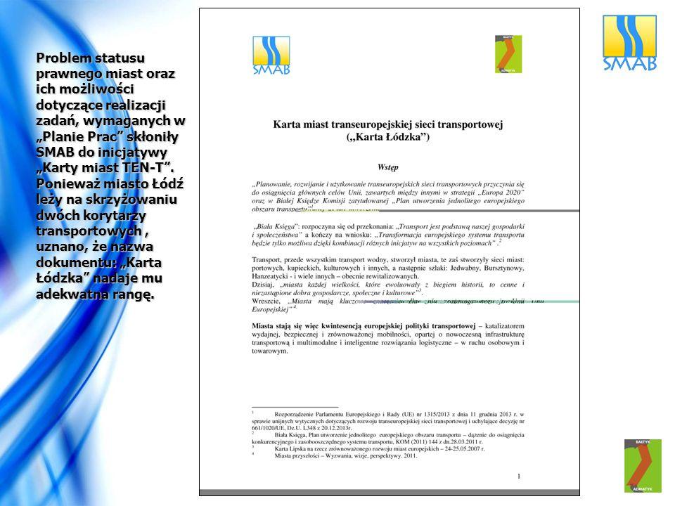 """Problem statusu prawnego miast oraz ich możliwości dotyczące realizacji zadań, wymaganych w """"Planie Prac skłoniły SMAB do inicjatywy """"Karty miast TEN-T ."""