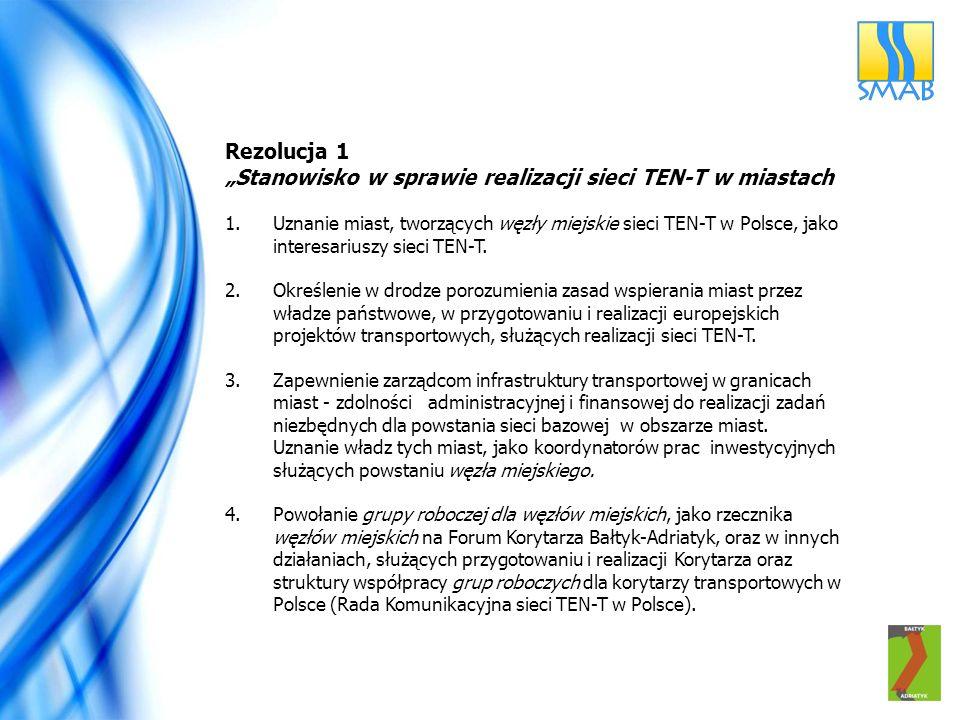 """""""Stanowisko w sprawie realizacji sieci TEN-T w miastach"""