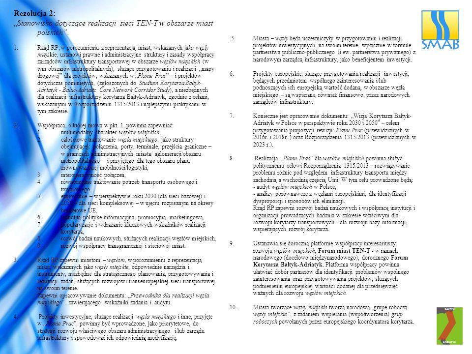 """Rezolucja 2: """"Stanowisko dotyczące realizacji sieci TEN-T w obszarze miast polskich ."""