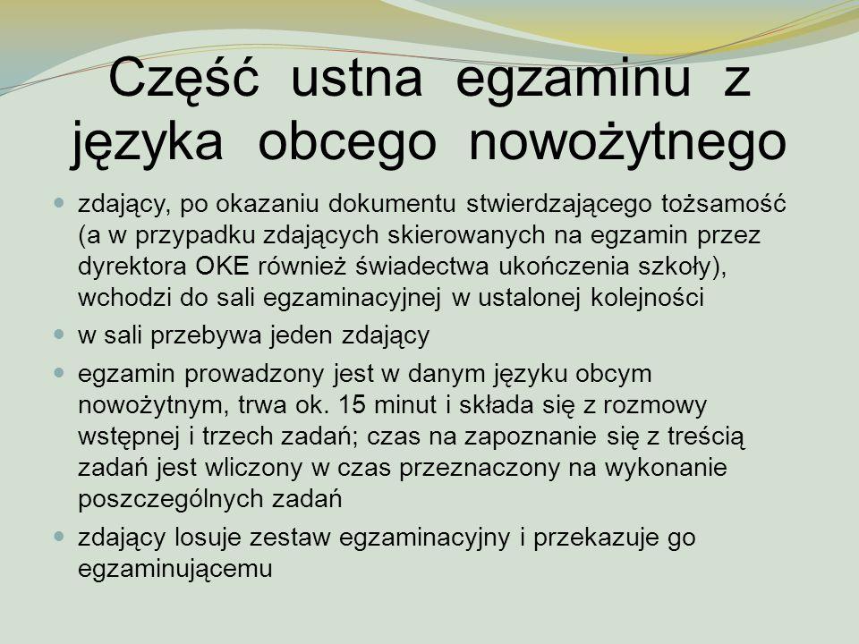 Część ustna egzaminu z języka obcego nowożytnego
