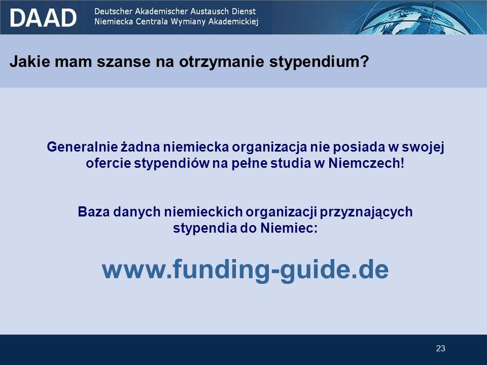 www.funding-guide.de Jakie mam szanse na otrzymanie stypendium
