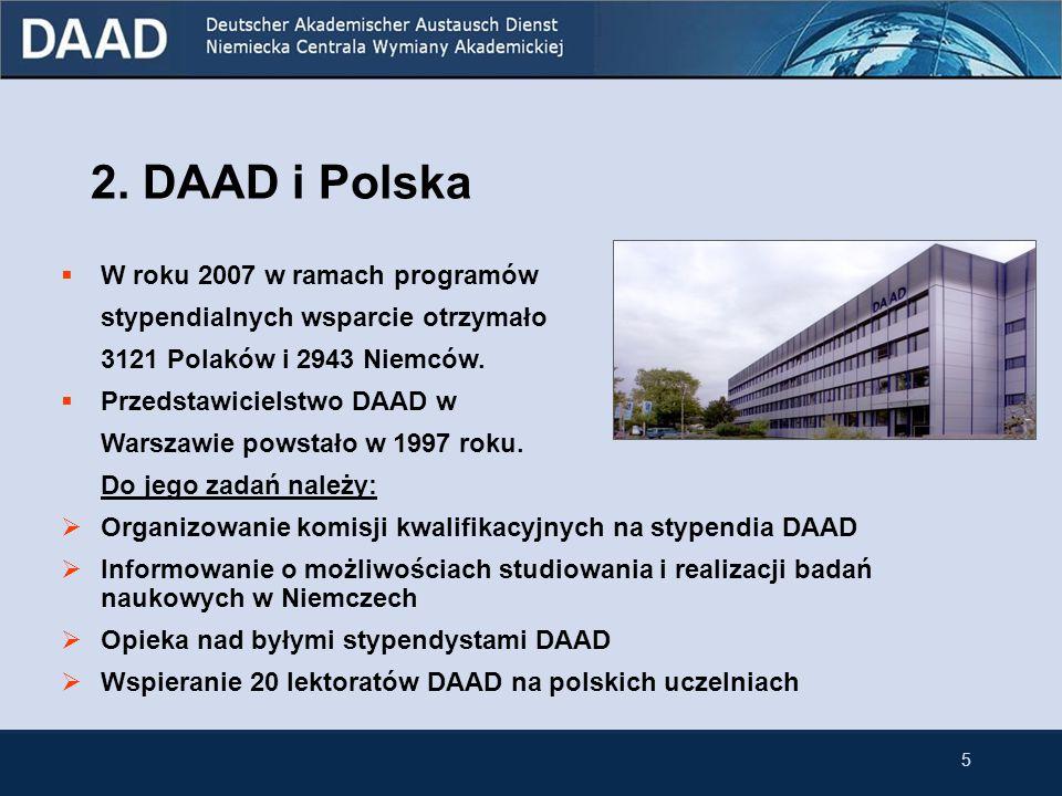2. DAAD i Polska W roku 2007 w ramach programów