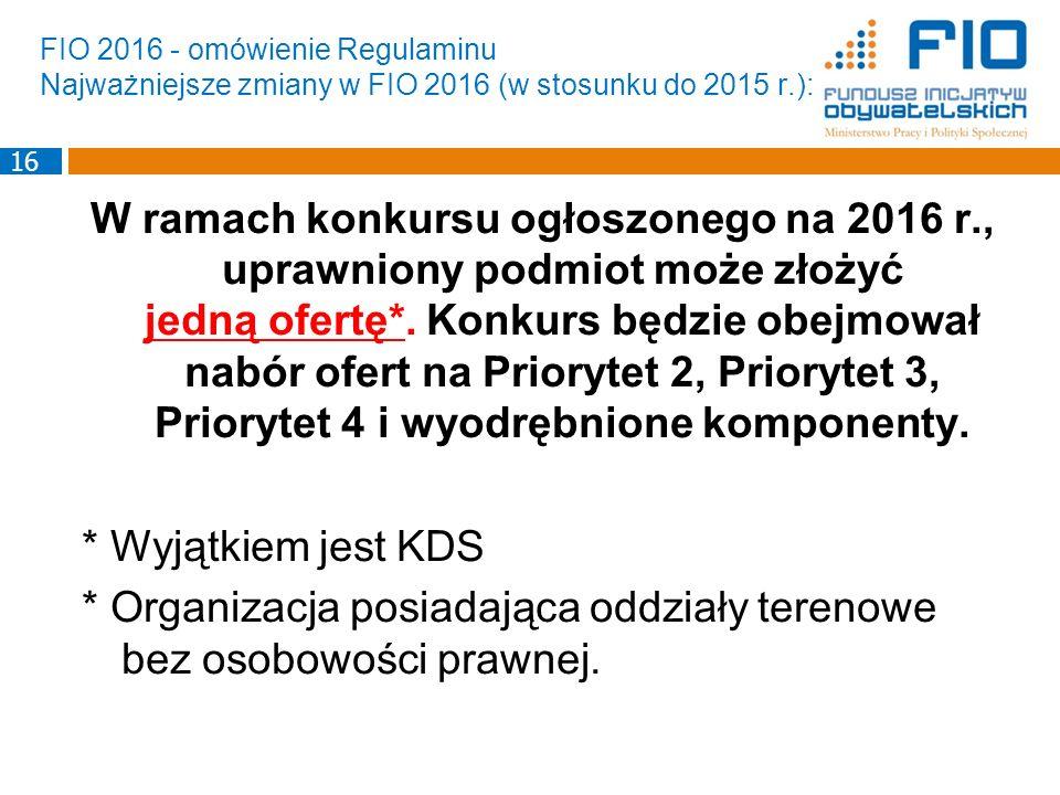 FIO 2016 - omówienie Regulaminu Najważniejsze zmiany w FIO 2016 (w stosunku do 2015 r.):