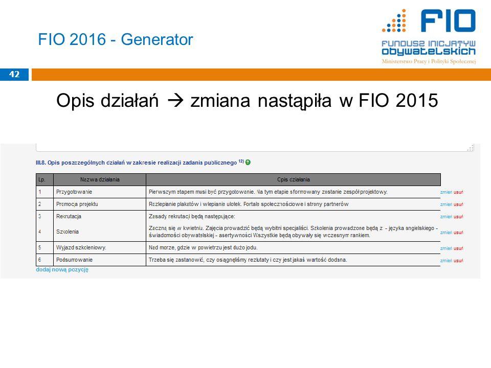 Opis działań  zmiana nastąpiła w FIO 2015