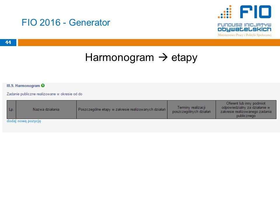FIO 2016 - Generator 44 Harmonogram  etapy 44