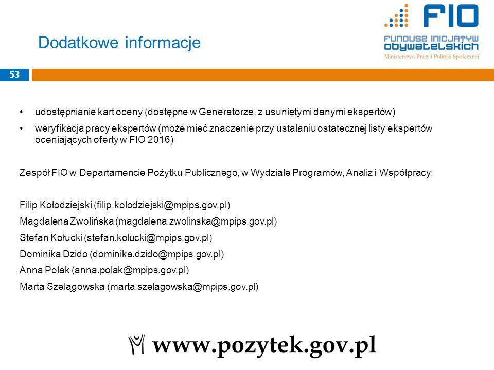 Dodatkowe informacje 53. udostępnianie kart oceny (dostępne w Generatorze, z usuniętymi danymi ekspertów)