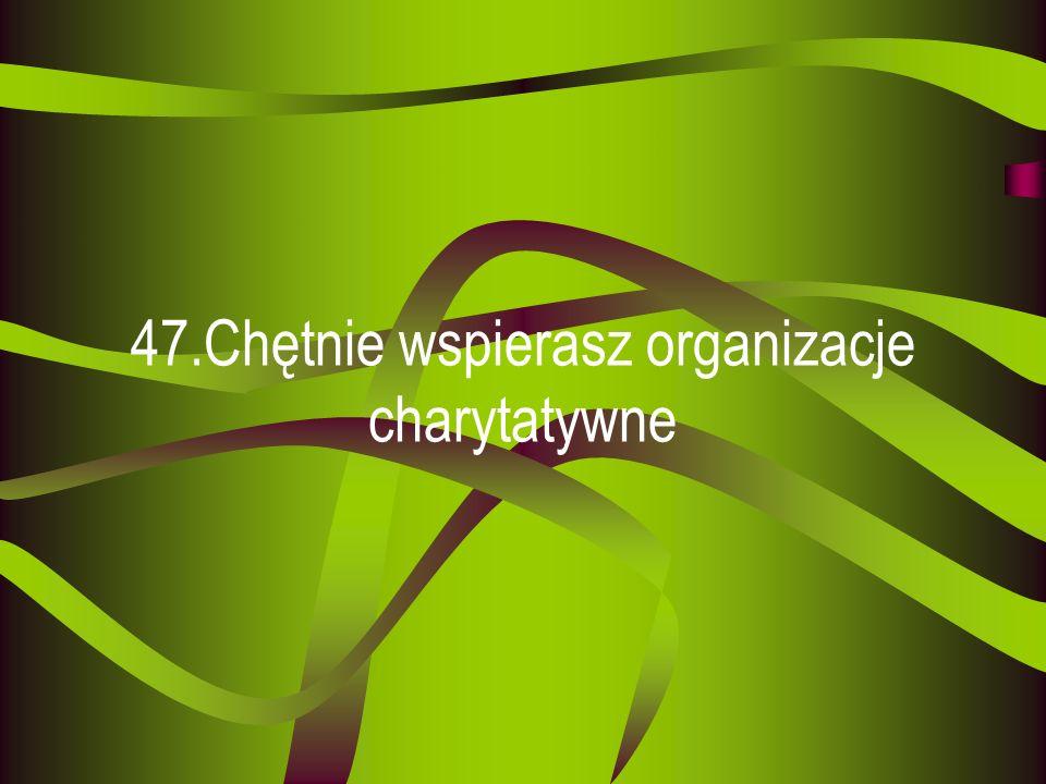 47.Chętnie wspierasz organizacje charytatywne