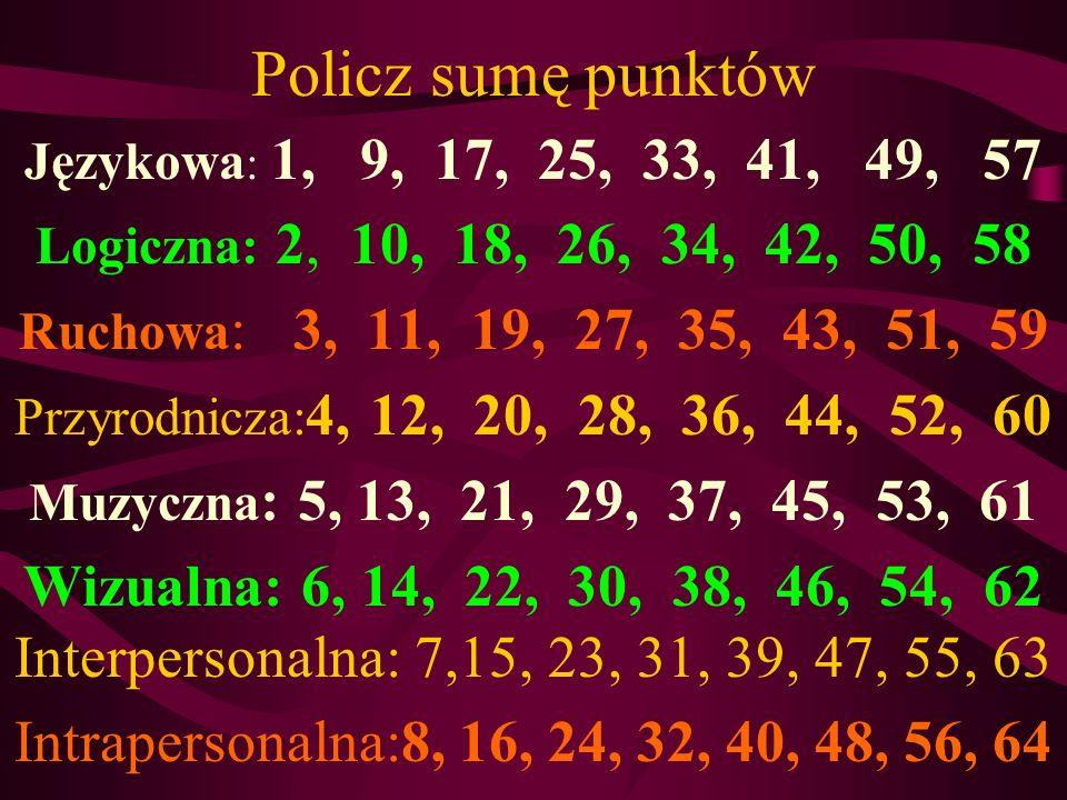 Policz sumę punktów Językowa: 1, 9, 17, 25, 33, 41, 49, 57. Logiczna: 2, 10, 18, 26, 34, 42, 50, 58.